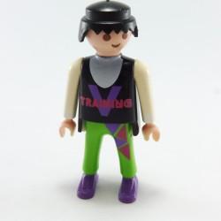 Playmobil Tete Cheveux Noirs Petite Queue Tatouage Boucles Oreilles