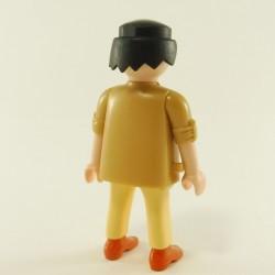 Playmobil Man's Head with Yellow Beard Hair in Gray Mesh Coast