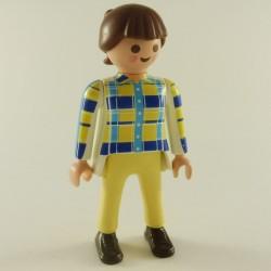 Playmobil Man's Head with Black Semi-Long Hair